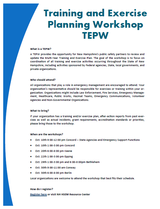 Training & Exercise Planning Workshop (TEPW) – Homeland Security ...